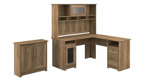 "L Shaped Desks Bush Furniture 60""W L-Shaped Desk with Hutch and Small Storage Cabinet"
