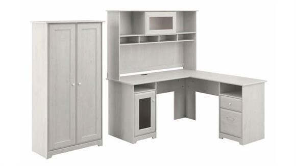 "L Shaped Desks Bush Furniture 60"" W L-Shaped Desk with Hutch and Tall Storage Cabinet"
