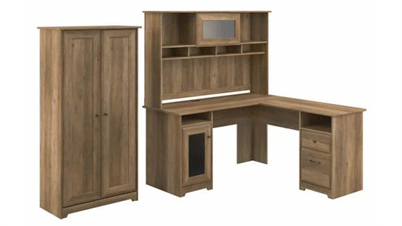 "L Shaped Desks Bush Furniture 60""W L-Shaped Desk with Hutch and Tall Storage Cabinet"
