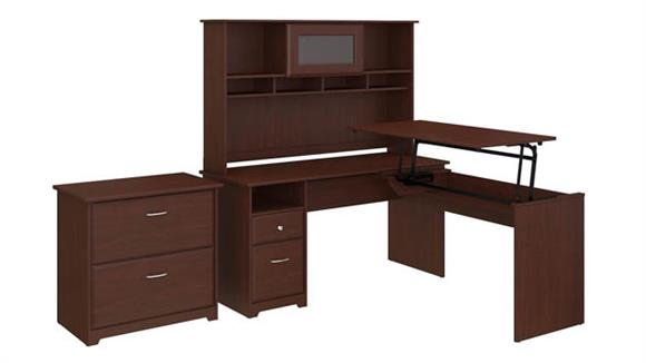 "Adjustable Height Desks & Tables Bush Furniture 60""W 3 Position L Shaped Sit to Stand Desk with Hutch and File Cabinet"