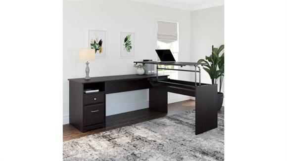 "Adjustable Height Desks & Tables Bush Furniture 72""W 3 Position L Shaped Sit to Stand Desk"
