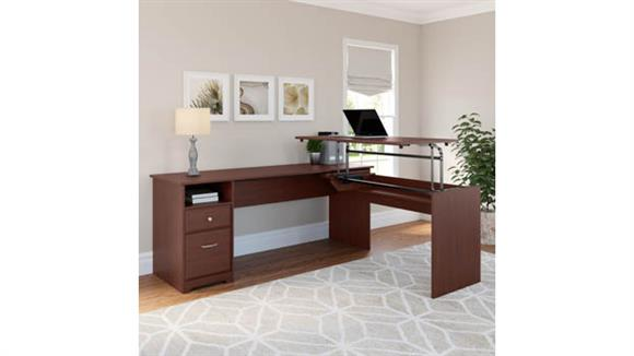 "Adjustable Height Desks & Tables Bush Furniture 72""W 3 Position L Shaped Sit to Stand Desk"