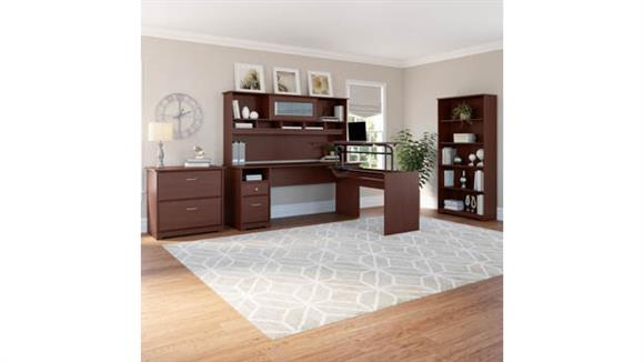 "Adjustable Height Desks & Tables Bush Furniture 72""W 3 Position L Shaped Sit to Stand Desk with Hutch and Storage"