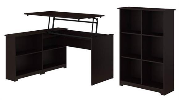 "Adjustable Height Desks & Tables Bush Furniture 52""W 3 Position Sit to Stand Corner Bookshelf Desk with 6 Cube Organizer"