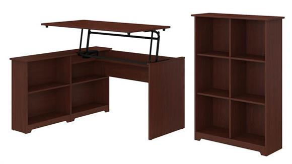 "Adjustable Height Desks & Tables Bush Furniture 52""W 3 Position Sit to Stand Corner Bookshelf Desk with 6 Cube Organizer"