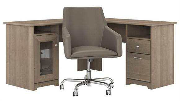 "L Shaped Desks Bush Furniture 60"" W L-Shaped Computer Desk with Mid Back Leather Box Chair"
