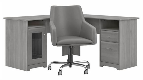 "L Shaped Desks Bush Furniture 60"" W L-Shaped Desk with Mid Back Leather Box Chair"