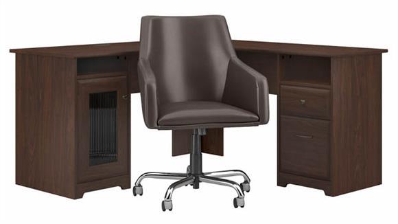 "L Shaped Desks Bush Furniture 60""W L-Shaped Desk with Mid Back Leather Box Chair"