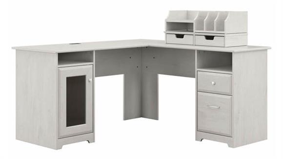 "L Shaped Desks Bush Furniture 60""W L-Shaped Computer Desk with Desktop Organizers"