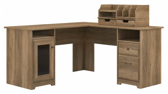 "L Shaped Desks Bush Furniture 60"" W L-Shaped Computer Desk with Desktop Organizers"