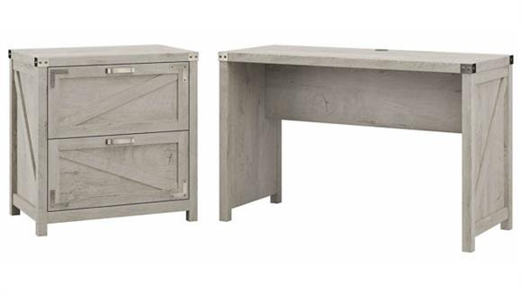 """Writing Desks Bush Furniture 48""""W Farmhouse Writing Desk with 2 Drawer Lateral File Cabinet"""
