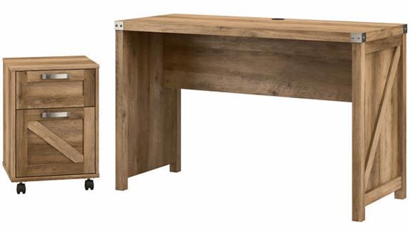 "Writing Desks Bush Furniture 48""W Farmhouse Writing Desk with 2 Drawer Mobile File Cabinet"