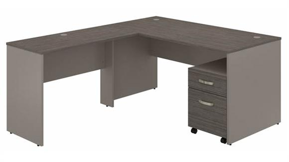 """L Shaped Desks Bush Furniture 60""""W L-Shaped Desk with Mobile File Cabinet"""