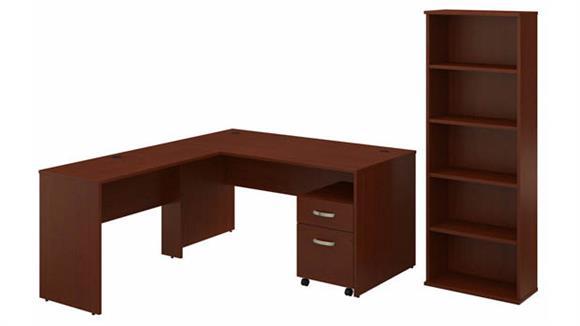 "L Shaped Desks Bush Furniture 60""W L-Shaped Desk with Mobile File Cabinet and Bookcase"