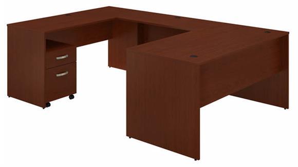 """U Shaped Desks Bush Furniture 60""""W U-Shaped Desk with Mobile File Cabinet"""