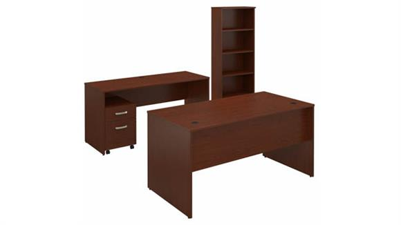 """Computer Desks Bush Furniture 60""""W Office Desk, 60""""W Credenza, Mobile File Cabinet and Bookcase"""