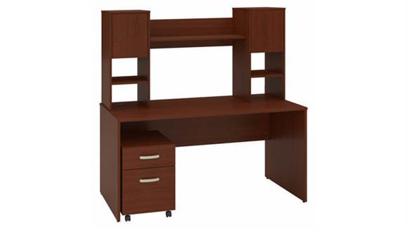 "Computer Desks Bush Furniture 60""W Office Desk with Hutch and Mobile File Cabinet"