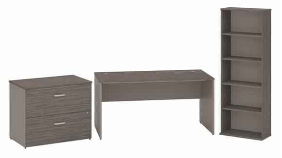 """Computer Desks Bush Furniture 60""""W Office Desk with 2 Drawer Lateral File Cabinet and Bookcase"""