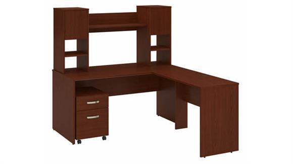 "L Shaped Desks Bush Furniture 60""W L-Shaped Desk with Hutch and Mobile File Cabinet"