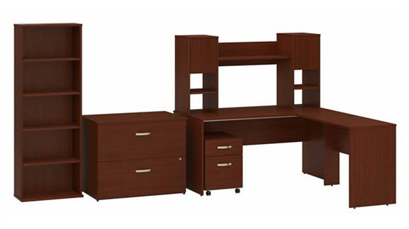 """L Shaped Desks Bush Furniture 60""""W L-Shaped Desk with Hutch, Mobile and Lateral File Cabinets and Bookcase"""