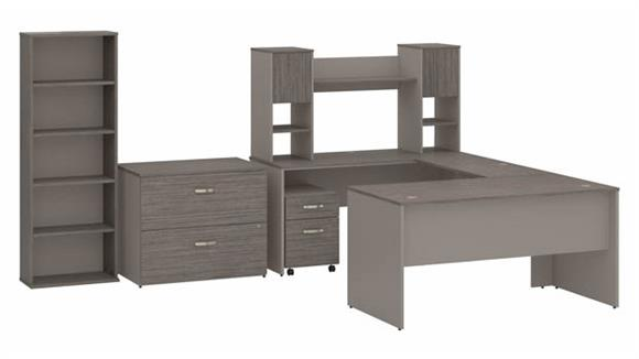 """U Shaped Desks Bush Furniture 60""""W U-Shaped Desk with Hutch, Mobile and Lateral File Cabinets and Bookcase"""