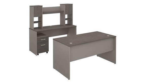 "U Shaped Desks Bush Furniture 60""W Office Desk with Credenza, Hutch and Mobile File Cabinet"