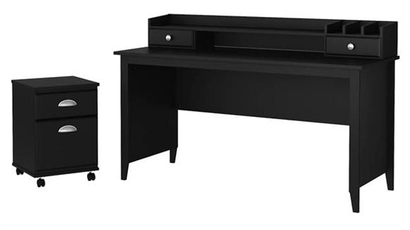 "Writing Desks Bush Furniture 60""W Writing Desk with Mobile File Cabinet and Desktop Organizer"