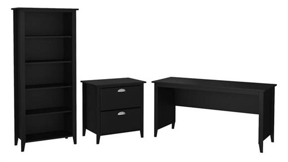 "Writing Desks Bush Furniture 60""W Writing Desk with Lateral File Cabinet and 5 Shelf Bookcase"