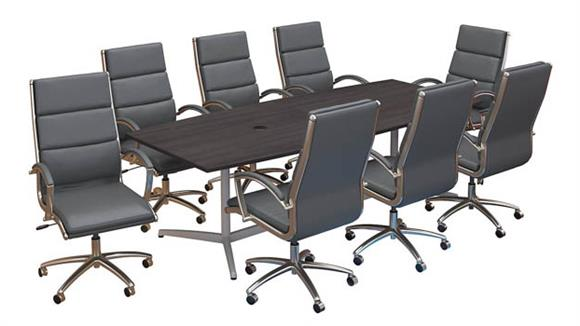 """Conference Table Sets Bush Furniture 96""""W x 42""""D Boat Shaped Conference Table with Metal Base and Set of 8 High Back Office Chairs"""