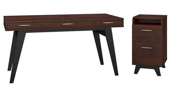 "Writing Desks Bush Furniture 60""W x 30""D Writing Desk with 2 Drawer Vertical File Cabinet"