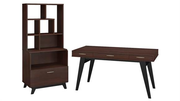 "Writing Desks Bush Furniture 60""W x 30""D Writing Desk with Lateral File Cabinet and Bookcase Hutch"