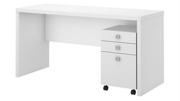 Office Credenzas Bush Furniture Credenza Desk with Mobile File Cabinet