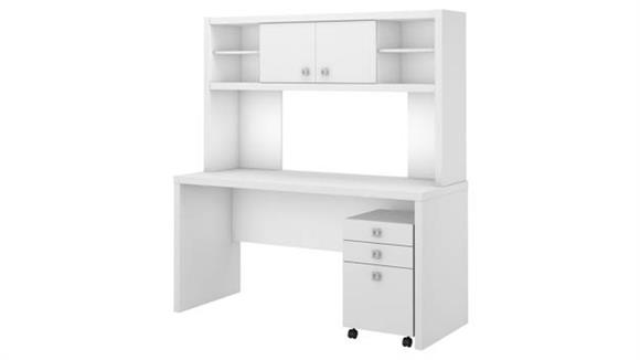 Office Credenzas Bush Furniture Credenza Desk with Hutch and Mobile File Cabinet