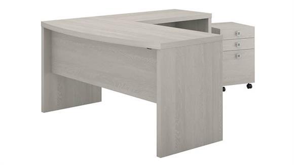 L Shaped Desks Bush Furniture L Shaped Bow Front Desk with Mobile File Cabinet