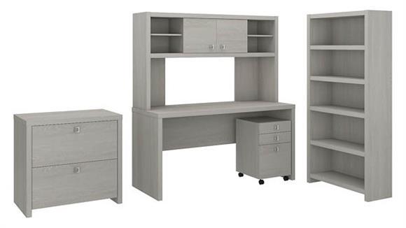 Executive Desks Bush Furniture Desk with Hutch, Bookcase and File Cabinets