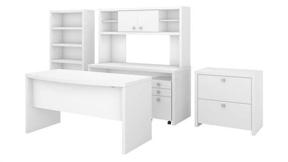 Executive Desks Bush Furniture Bow Front Desk, Credenza with Hutch, Bookcase and File Cabinets