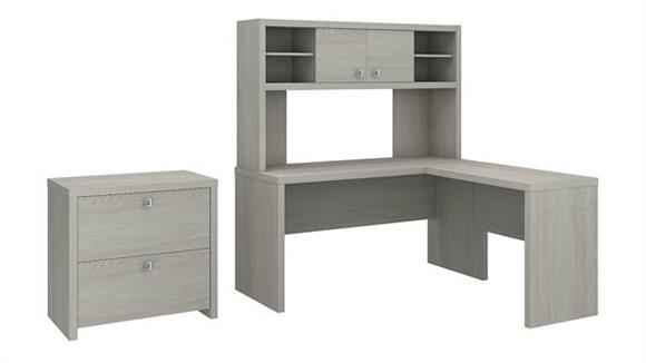 L Shaped Desks Bush Furniture L Shaped Desk with Hutch and Lateral File Cabinet