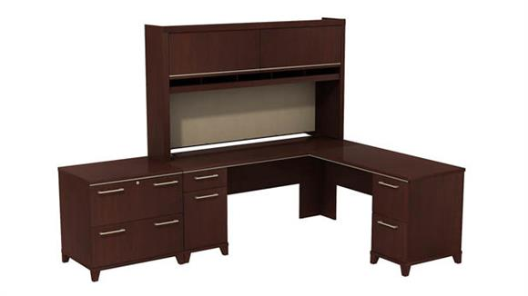 "L Shaped Desks Bush Furniture 72""W x 72""D L-Desk with Hutch and Lateral File"
