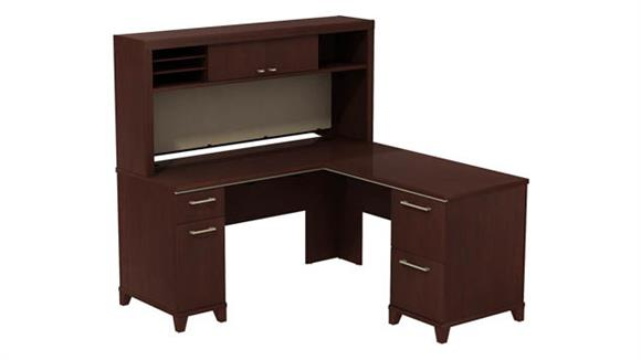 "L Shaped Desks Bush Furniture 60""W x 60""D L-Desk with Hutch"