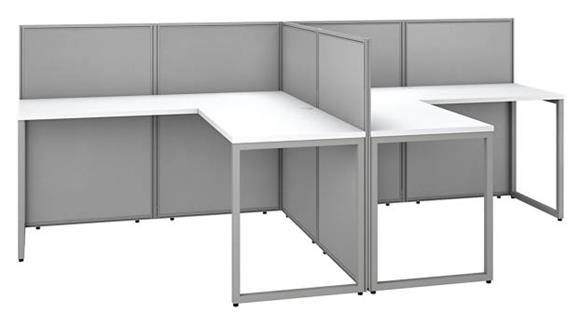 """Workstations & Cubicles Bush Furniture 60""""W 2 Person L-Desk Open Office with 45""""H Panels"""