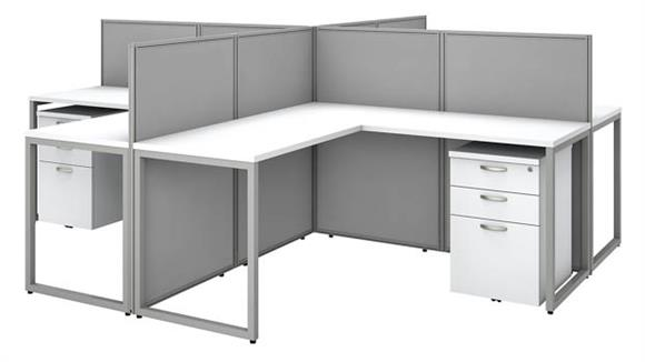 "Workstations & Cubicles Bush Furniture 60""W 4 Person L-Desk Open Office with 4 -3 Drawer Mobile Pedestals and 45""H Panels"