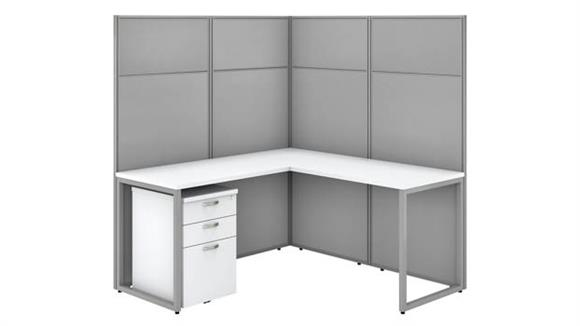 """Workstations & Cubicles Bush Furniture 60""""W L-Shaped Cubicle Desk with File Cabinet and 66""""H Panels"""