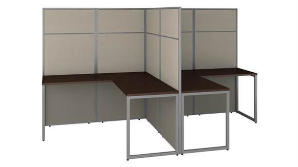 "Workstations & Cubicles Bush Furniture 60""W 2 Person L Shaped Cubicle Desk Workstation with 66""H Panels"
