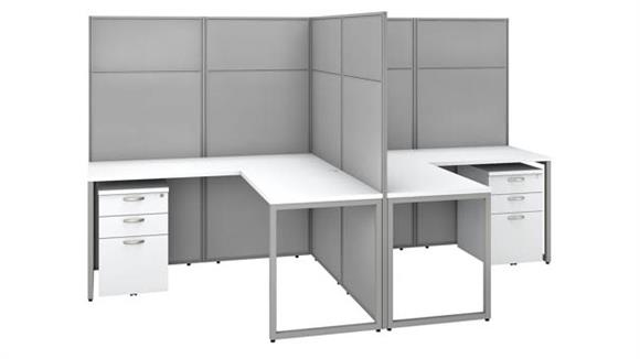 """Workstations & Cubicles Bush Furniture 60"""" W 2 Person L-Shaped Cubicle Desk with Drawers and 66""""H Panels"""