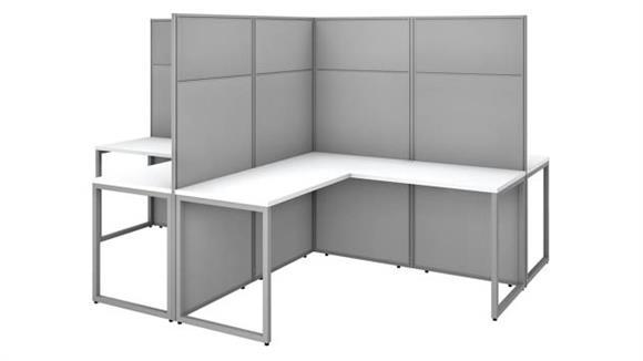 "Workstations & Cubicles Bush Furniture 60"" W 4 Person L-Shaped Cubicle Desk Workstation with 66""H Panels"