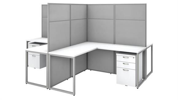 "Workstations & Cubicles Bush Furniture 60""W 4 Person L-Shaped Cubicle Desk with Drawers and 66""H Panels"