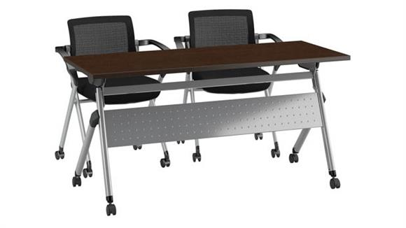 "Training Tables Bush Furniture 60""W x 24""D Folding Training Table with Set of 2 Folding Chairs"