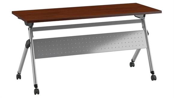 """Training Tables Bush Furniture 60"""" W x 24"""" D Folding Training Table with Wheels"""