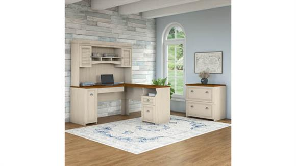 "L Shaped Desks Bush Furniture 60""W L-Shaped Desk with Hutch and Lateral File Cabinet"