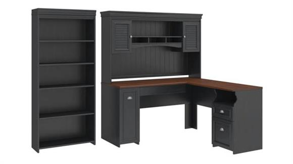 "L Shaped Desks Bush Furniture 60""W L-Shaped Desk with Hutch and 5 Shelf Bookcase"